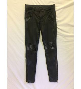 Mother-waist 25ins/s6/8-black-waxed cotton studded jeans - R.R.P £180+