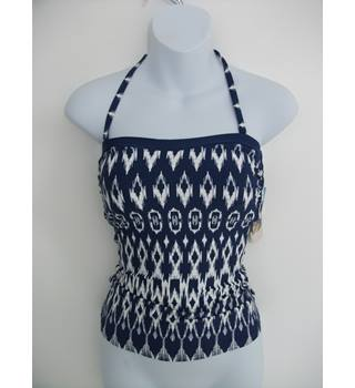 Marks & Spencer Navy and White Bandeau Tankini Top Size 8