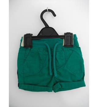 Marks & Spencer 2 pairs of Cotton Shorts (1 - Green / 1 - Navy) Size Age 3-6 months