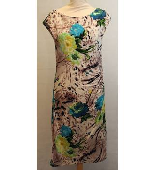Wallis - Size 10 - Beige with brown and blue floral design sleeveless dress