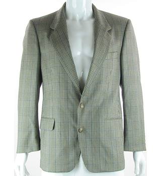 "VINTAGE St Michael - Size: 40"" Short - checked cardamom - Wool & Silk Mix Single breasted suit jacket"