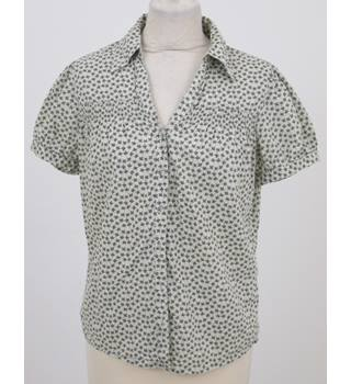 Next size 10 cream with khaki leaf pattern short sleeved shirt