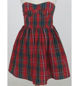 BNWT Jack Wills - size: 10, red tartan strapless dress