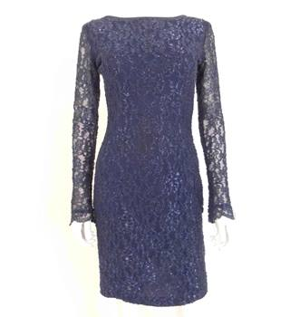 Bernshaw Size 10 Stretch Lace Party Dress In Midnight With Sparkle