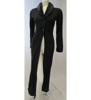 Long cardigan with furry collar Size S on n'est pas des anges - Size: S - Grey