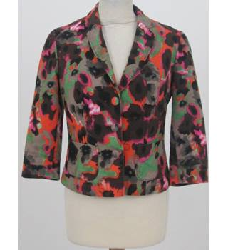 Next Size:10 Beige with orange, brown, pink and green floral pattern Jacket