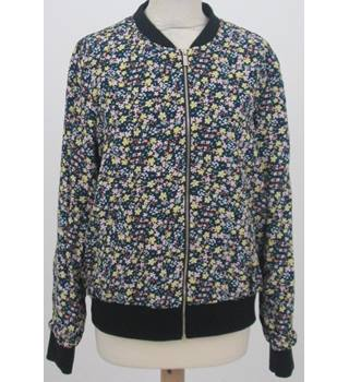 BNWT F&F Size:12 Navy Blue with yellow, pink, blue and green floral pattern Bomber Jacket