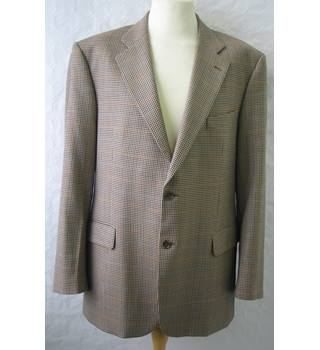 "M&S Marks & Spencer - Size: M Chest 44"" - Beige houndstooth check jacket in pure new wool"