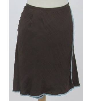Henrietta Park London - Size: S brown with light blue trim silk skirt