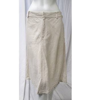Linen Cream Skirt by Orvis Size 12 Orvis - Size: 12 - Cream / ivory