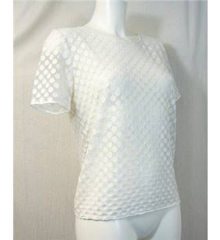 Topshop - Size: 6 - Sheer with White Dots Short Sleeved Top