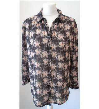 Reiss Size: 12 Brown with Peach Floral Blouse