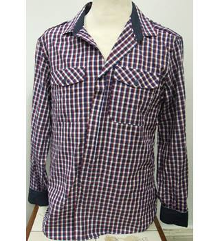 All-Cotton Red&Blue Checked Long sleeved Shirt by River Island (Size L)