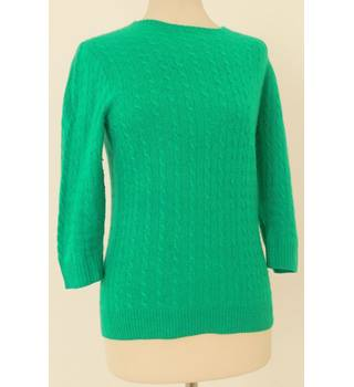 J Crew Size S Emerald Green Cable Knit Cashmere Jumper