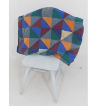 Multi-Coloured Handmade Triangle Patchwork Quilt With Black Border