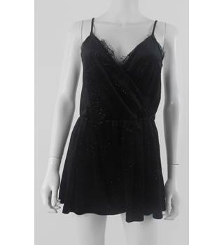 Topshop Black Velvet Sparkle Playsuit Size 10