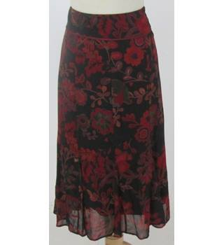 NWOT M&S size 10 brown and red patterned skirt