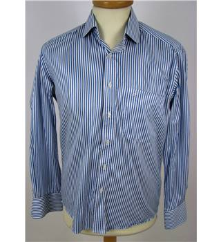 "Daniel Hechter 15"" Collar Blue and White Striped Shirt."