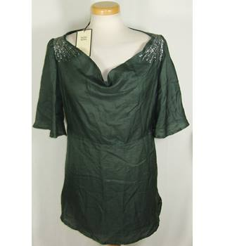 BNWT Noa Noa size large dark green silk mix top