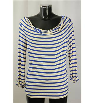 Hobbs Size L beige and blue striped top
