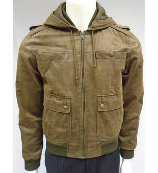 Topman - Size S - Brown - Hooded Bomber Jacket