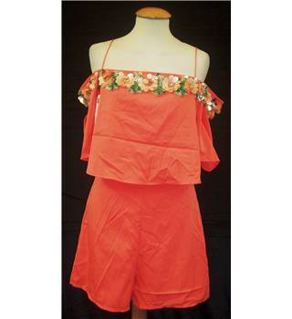 BNWT Gyan International (Sample) Size: 10 Orange off the shoulder  with sequin trim playsuit