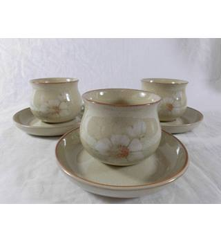 Three Denby Daybreak Open Teacup and Saucer