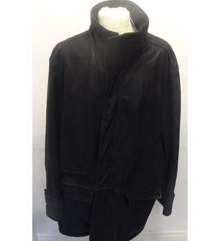 Marks & Spencer Leather Coat/Jacket- Size: L - Black