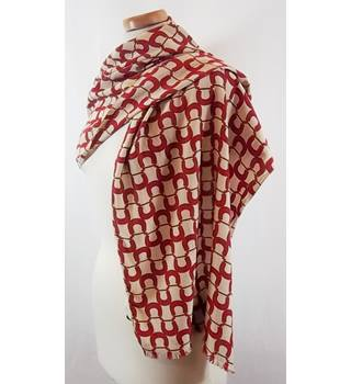 Burberry beige & red print silk scarf