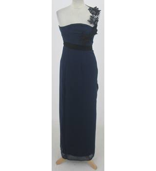 ASOS: Size 8: Navy blue one shoulder evening dress