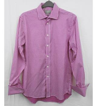Savoy  Tailors Guild red checked cotton shirt Size 16