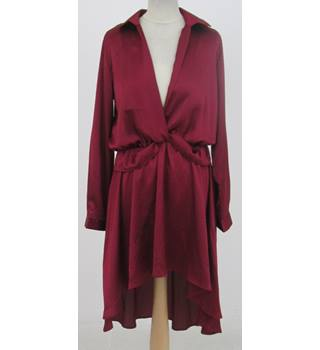 BNWT: Pretty Little Thing: Size 12: Red deep V-neck wrap front dress