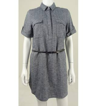 M&S Collection Size 12 Storm Cloud Blue Linen Blend Shirt Dress