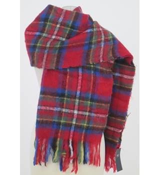 NWOT M&S red mix tartan patterned scarf