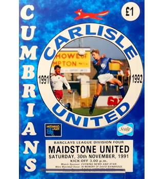 Carlisle United v Maidstone United - Division 4 - 30th November 1991
