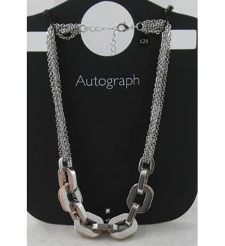 NWOT Autograph pink & silver mix chunky chain collar necklace