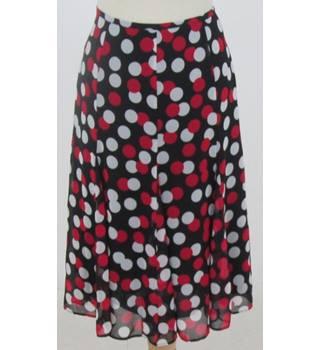 M&S Marks & Spencer - size: 12, black with red and white spots calf length skirt