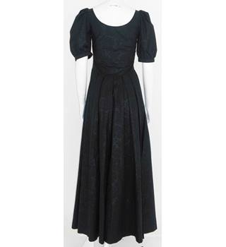 Vintage 1980s Laura Ashley Size 10 Black Puffed Sleeves Evening Dress