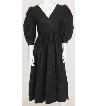 Vintage 1980s Laura Ashley Size 14 Black Full Puffed Sleeves Evening Dress