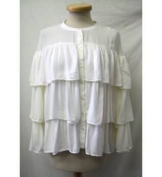 Per Una - Size: 10 - Ivory White -  Button Down Blouse