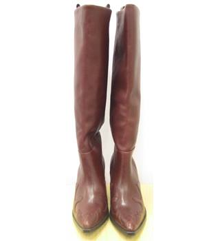 NWT Womens Leather Boots H&M - Size: 7 - Burgundy - Boots