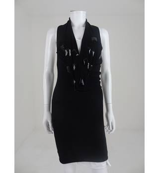 BNWT Emporio Armani Black Size M Knitted Halter Neck Dress With Jewel Detail