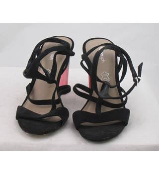 NWOT Autograph, size 3.5 black suede sandals with black/pink perspex heel