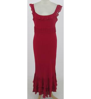Laura Ashley: Size 12: Red 100% silk scoop neck dress