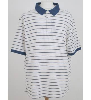 NWOT M&S size: XXL cream /blue polo shirt