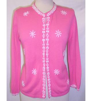 Next - Size: 12 - Punch Pink - White Embroidery -  Cardigan