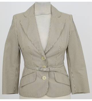 Karen Millen: Size 8:  Cream & brown stripe smart blazer
