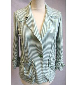 wrap - Size: 10 - Green/White Striped -Fully Lined- 3/4 Sleeve -Smart Blazer