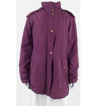 Lands End Large Plum Coat With Quilted Lining and Fur Trimmed Collar