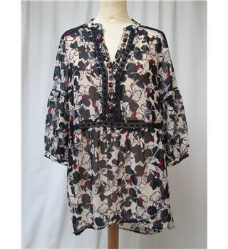 M&S Collection - Size: 10 - Black/Mulberry print - Floaty Smock top